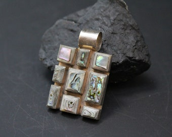 Vintage 950 Mexico Sterling Silver Abalone Inlay Pendant