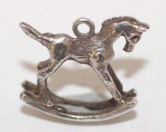 Vintage Sterling Silver Bracelet Charm Rocking Horse (1.9g)