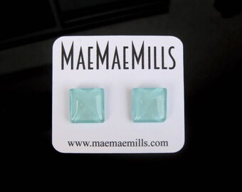 Shimmery Mint Green Petite Glass Earrings