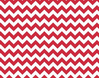 Red Small Chevron Fabric by Riley Blake Designs - Half Yard - 1/2 Yard - Zig Zags - Red and White