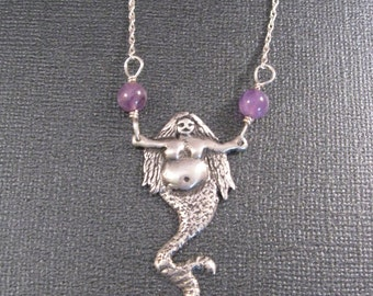 "Mermaid Goddess 24""  Necklace in Sterling with Amethyst Beads Rotund Mermaid OOAK"