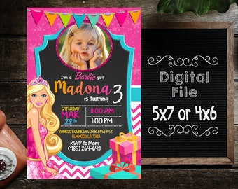 Barbie Invitations,Barbie Birthday,Barbie Party,Barbie Printable,Barbie Birthday Invitations,Barbie Invites,Barbie Birthday Party-F0017