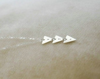 Sterling Silver Triangle Necklace - Personalized Triangle, Triangle Initial Necklace, Monogram Triangle, Dainty Triangle, Dainty Silver Neck