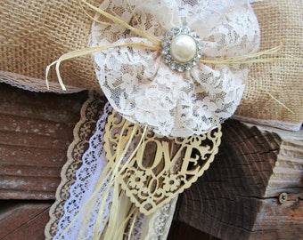 Burlap bow Rustic wedding decorations Country rustic wedding Pew bow decorations Aisle decorations Rustic bow Wedding chair decoration