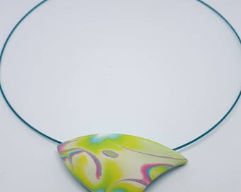 one of a kind curved triangular abstract pendant
