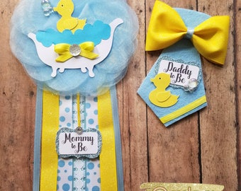 Duck Corsage Baby Shower Corsage/ Mommy To Be Pin/ Daddy To Be Pin/ Baby  Shower Pin/ Duck Theme/ Boy Baby Shower/ Baby Duck
