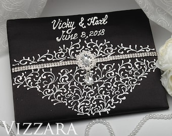 Guest book Black and white weddings Unique wedding guest book Black and white wedding themes Modern wedding guest book Black themed weddings