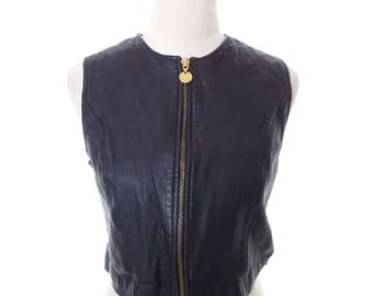 Vintage Leather Crop Vest Womens