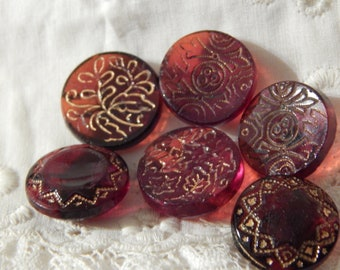 Ruby Red Glass Buttons - 6 with Gold Luster