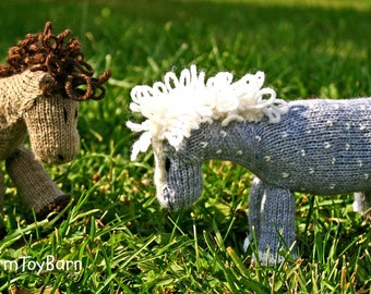 Starlight: Silver Dappled Grey Stuffed Animal Pony Knitted Toy Horse All Natural Wool Waldorf Inspired Play