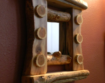 Modern rustic log mirror - Rustic home decor, Rustic furniture, Log furniture, Rustic mirror.