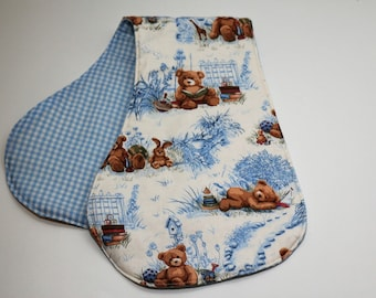 Contoured Burp Rag:  Teddy Bears, Books & Toys with Blue gingham