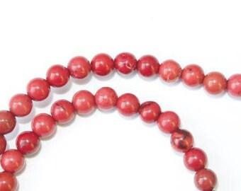 Set of 10 beads round 4mm - Howlite - Red