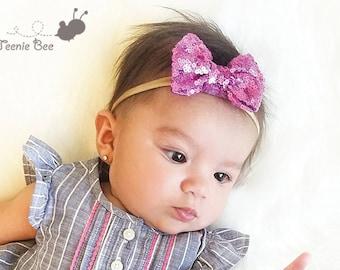 Sequin Bow Headband - Sequin Hair Bow Headband - Glitter Bow Nylon Headband - Sparkly Nylon Headband - Nylon Headband - Pink Headband