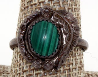 Navajo Sterling Silver Hand Stamped Malachite Squash Blossom Ring, Size 10.25