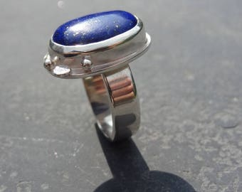 Sterling Silver ring set with a lapis lazuli