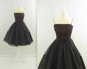 50s Tulle Party Dress - Vintage 1950s Black Sequined Prom Dress - XSmall by Jr Theme
