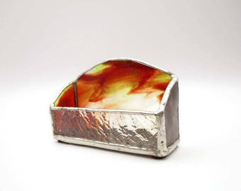 Stained Glass Business Card Holder With Swirled Glass