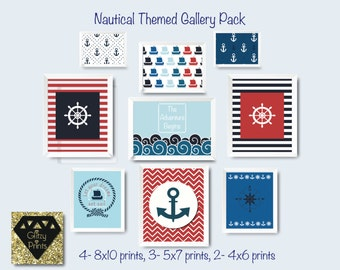 Nautical nursery print set / Boy's room Nautical printable / Modern Nursery Wall art download / Gallery Nautical Print  / includes 9 prints