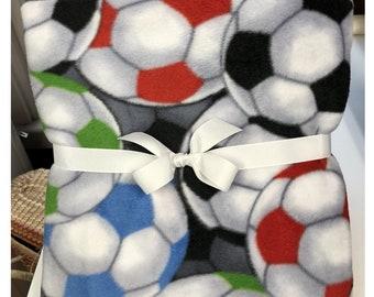 Soccer Ball Balls Throw Blanket Tie Kit Keepsake