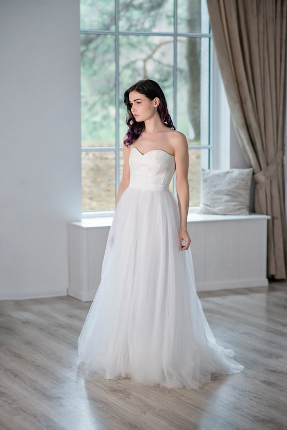 Heather - strapless wedding dress