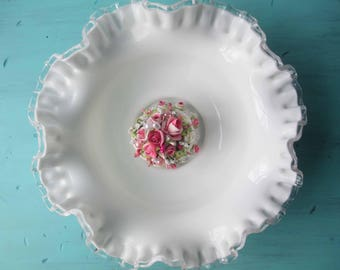Vintage Fenton Milk Glass Silver Crest Serving Bowl