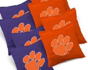 Officially Licensed Clemson Tigers Cornhole Bags Set of 8 - Top Quality - Regulation Cornhole Bags - Bean Bags - Clemson Cornhole