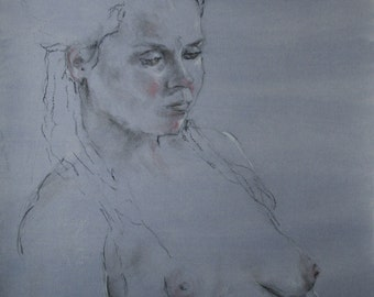 Figure Drawing/Trois Crayons/Hand Toned Paper/Ashley 7