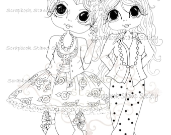 INSTANT DOWNLOAD Digital Digi Stamps Big Eyed Carley & Gill Besties Big Head Dolls Digi By Sherri Baldy