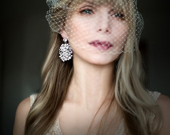 Vintage Style Statement Bridal Earring, Large Wedding Earrings, Ornate Chandelier Earrings, Bridal Hollywood Glamour - 'SIMONE'