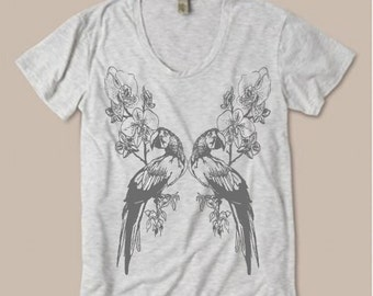 Womens Tropical PARROT Mirror Image Orchid Flower Bohemian Slouchy T shirt screen print Top Alternative Apparel S M L XL More colors