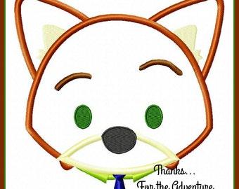 Nick Wilde from Zootopia Tsum Tsum Digital Embroidery Machine Applique Design File 4x4 5x7 6x10