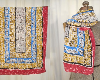 Vintage 1930s Scarf - 30s Long Silk Scarf, Novelty Print Art Deco Neck Scarf