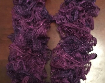Sparkly Purple Ruffle Scarf