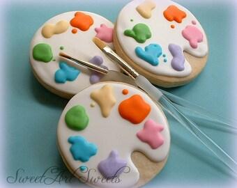 Art cookies - Paint palette cookies - 1 dozen decorated cookie favors