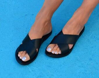 Black Leather Sandals, Greek Leather Slides, Black Sandals, Black Flipflops, Criss Cross Sandals