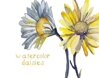 Watercolor Floral Daisies Clipart INSTANT download Digital Clip Art Flower Clipart Flowers Watercolors Commercial Use Scrapbooking Floral