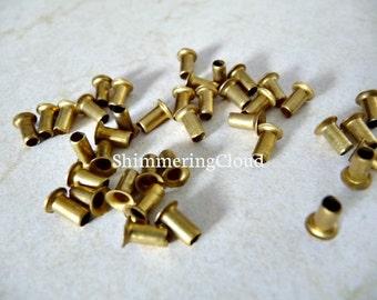 Brass Rivets, raw brass, metal jewelry findings, supplies, brass jewelry, grommets, eyelets, deep, tube, unusual, rare