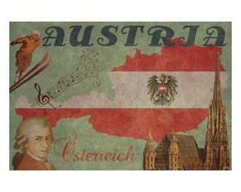 AUSTRIA 1FS- Handmade Leather Journal / Sketchbook - Travel Art