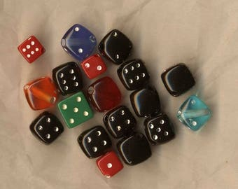 Multicolored dice beads, set of 18 beads, beads, colored beads mix dices, jewelry supplies