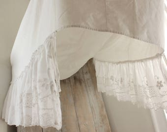 Antique Vintage  French bed canopy white lace embroidery cotton netting textile