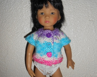 "Doll clothes Little darlings Dianna Effner, 33cm 14 ""- turquoise/Lavender/pink gradient Wool Cardigan"