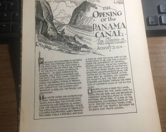 The opening of the Panama Canal 1914 1933 book page history print illustration . Art frameable history