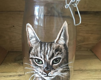 Pet treat jar, dog treat jar, cat treat jar ,pet portrait , hand painted, for cat owners, for dog owners, for pet treats