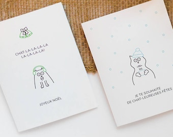 Set of 2 Christmas cards. Cats. Greeting cards. Word games