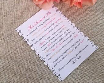 Bridesmaid Survival Kit with Lace Trim - 5x7 - Postcard - Hard Copy Set
