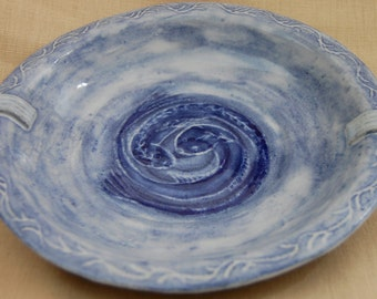 Blue Serenity - handmade ceramic bowl, pottery bowl, serving bowl, ceramic dish, stoneware bowl, home decor, gift idea, sgraffito pottery