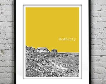 Westerly Rhode Island Skyline Poster Art Print Original
