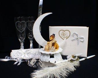 Lion King DISNEY Wedding Cake Topper LOT Glasses Knife guest book garter set 2 Nature groom top cus Simba
