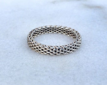Tiffany and Co. Sterling Silver 925 Somerset Mesh Mens Unisex Wedding Ring Band Size 8.5